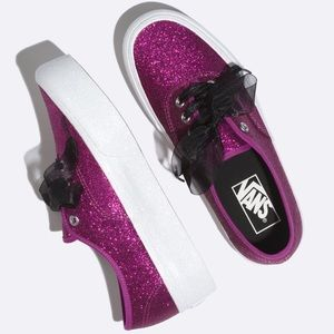 Vans Pink Glitter Platform Sneakers Shoes 6 Black